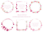 Set of assorted cherry blossom frames. Vector illustration.