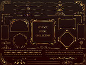 Set of assorted gold vintage frames, vector illustration.