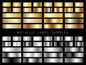 Set of assorted metallic label samples, vector illustration.