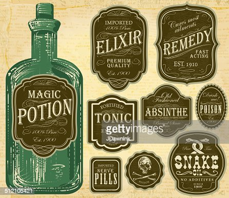 Set of assorted old fashioned green and brown labels bottles : Vector Art