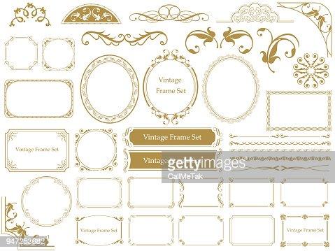 Set of assorted vintage frames. : Vector Art