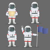 Set of astronauts standing with different gestures: giving thumbs up, holding sign, flag, and waving isolated on grey background.
