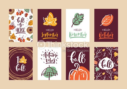 Set of autumn calligraphy cards design for poster card invitation set of autumn calligraphy cards design for poster card invitation placard brochure flyer vector templates stopboris Images
