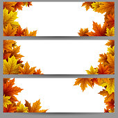 Vector illustration of Set of autumn leaves banners