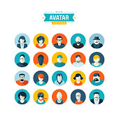 Flat design vector avatar icons