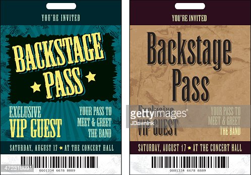 Set Of Two Black And Yellow Backstage Pass Template Designs Vector – Free Vip Pass Template