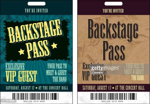 Satz von Backstage-Pass-Vorlage-Design