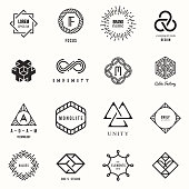 Modern geometric design. Logos and monograms. Vector illustration, EPS 10.