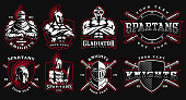 Set of logos, badges with ancient warriors. vector illustration with knight, spartan and gladiator. Perfect for fitness center, gym and fight club. Text is on the separate layers. (Version for the dar