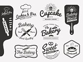 Set of bakery and bread logo labels design for sweets shop, bakery shop, cake shop, restaurant, bake shop