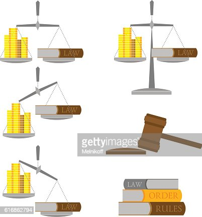 Set of balance with money (gold coins) and lawbook : Vector Art