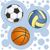 Set of colored balls for soccer volleyball and basketball on bubbly background