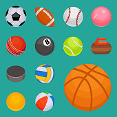 Set of balls isolated tournament win round basket soccer hobbies game equipment sphere vector illustration. Recreation leather group traditional different design.