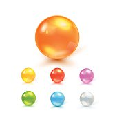 Colorful Vector Photo Realistic Set Of Balls - Piles, Capsules, Glass Spheres Or Beads