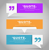 Set of banners with a quote bubble and quotes in a flat style. Vector illustration.