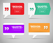 Set of banners with a quote bubble and quotes in various shapes. Vector illustration.