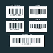 Set of bar codes for different types of goods. Illustration isolated on a dark background