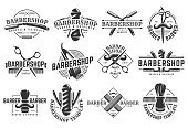 12 set of Vector Barbershop vintage template on isolated white background