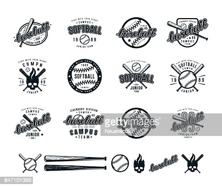 Set of baseball and softball badges : stock vector
