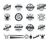 Set of baseball and softball badges. Graphic design for t-shirt