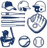 Set of baseball design elements. Baseball beats, balls, glove, hats. Design elements for label, emblem, sign. Vector illustration