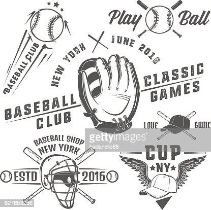 Set of baseball emblems and logo. : stock vector