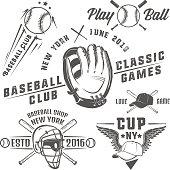 Set of baseball emblems and logo.