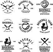 Set of baseball emblems. Design element for label, sign, poster, t shirt. Vector illustration