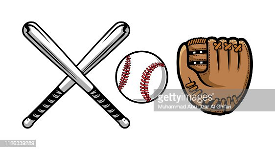 Set of baseball equipment illustrations contains bat, gloves and ball. : stock vector