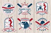 Set of baseball or softball club badge. Vector. Concept for shirt or , print, stamp or tee. Vintage typography design with baseball bats, batter hitting ball and ball for baseball silhouette.