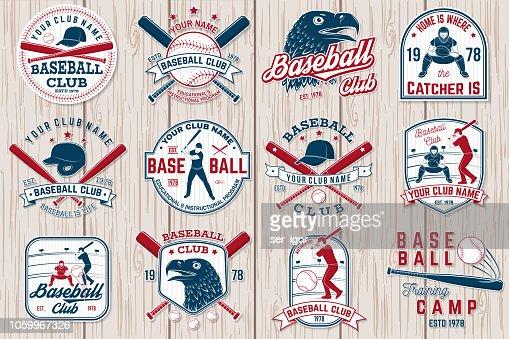 Ensemble de badge club de base-ball ou le softball. Illustration vectorielle. Concept pour la chemise ou le logo, : clipart vectoriel