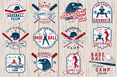 Set of baseball or softball club badge. Vector. Concept for shirt or logo, print, stamp or tee. Vintage typography design with baseball bats, batter hitting ball and ball for baseball silhouette.