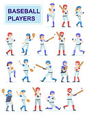Set of baseball players at classic uniform. Men and girls play baseball serve and beat off a ball. Cartoon characters isolated on white background. Flat vector illustration.