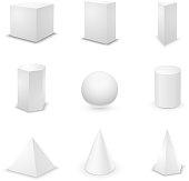 Set of nine basic elementary geometric shapes, blank 3d primitives isolated on white