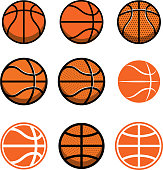 Set of basketball balls isolated on white background. Design element for poster, label, emblem, sign, t shirt. Vector illustration