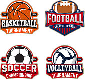 Set of basketball, football, soccer, volleyball labels templates. Design element for  label, emblem, sign, brand mark. Vector illustration.