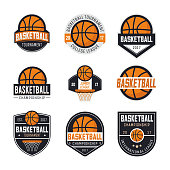 Set of basketball s, emblems, labels and design elements. Vector illustration isolated on white background