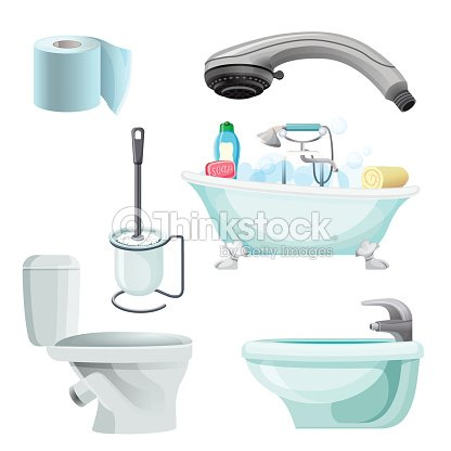Ensemble dillustration de vecteur r aliste quipement for Bidet salle de bain