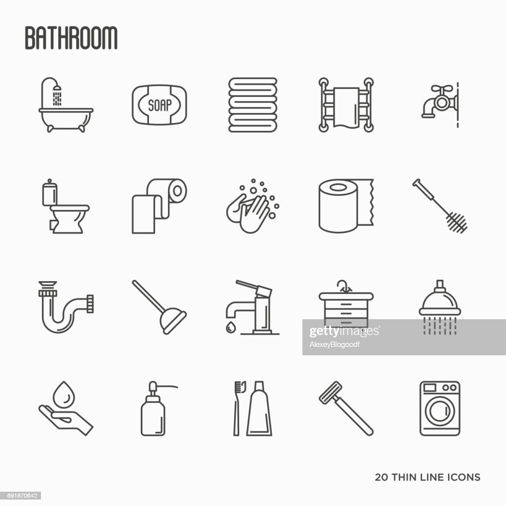 Set Of Bathroom Equipment Thin Line Icons. Vector Illustration. Hygiene,  Purity, Beauty
