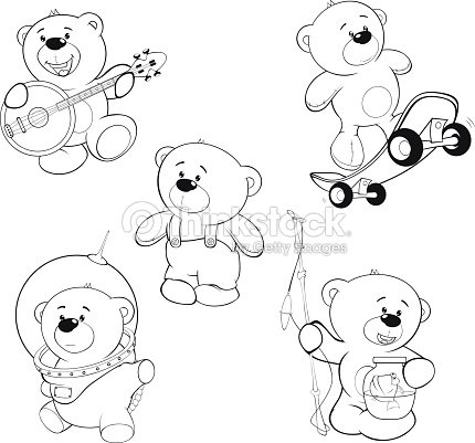 Juego De Bears Libro Para Colorear Arte vectorial | Thinkstock
