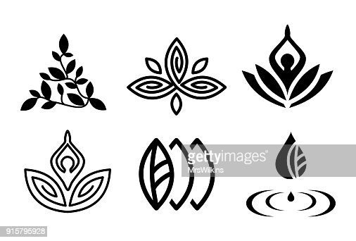 Set of beautiful yoga and spa symbols and logotypes vector : arte vettoriale