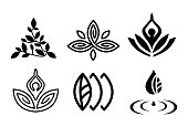 Set of beautiful yoga and spa symbols and logotypes vector collection