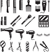 Set of beauty salon tools. Vector illustrations.