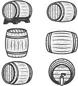 Set of beer barrels isolated on white background. Design elements for logo, label, emblem, sign, brand mark. Vector illustration.