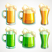Set of beer the day of St. Patrick, green and light beer. Vector illustration.
