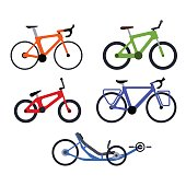 Color set of bicycles silhouette icons. Vector isolated clipart
