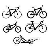 Black and white set of bicycles silhouette icons. Vector isolated clipart