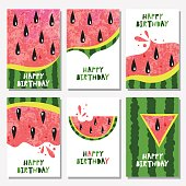 Set of 6 cute creative cards templates with watermelon. Vector illustration. Hand Drawn card for birthday.