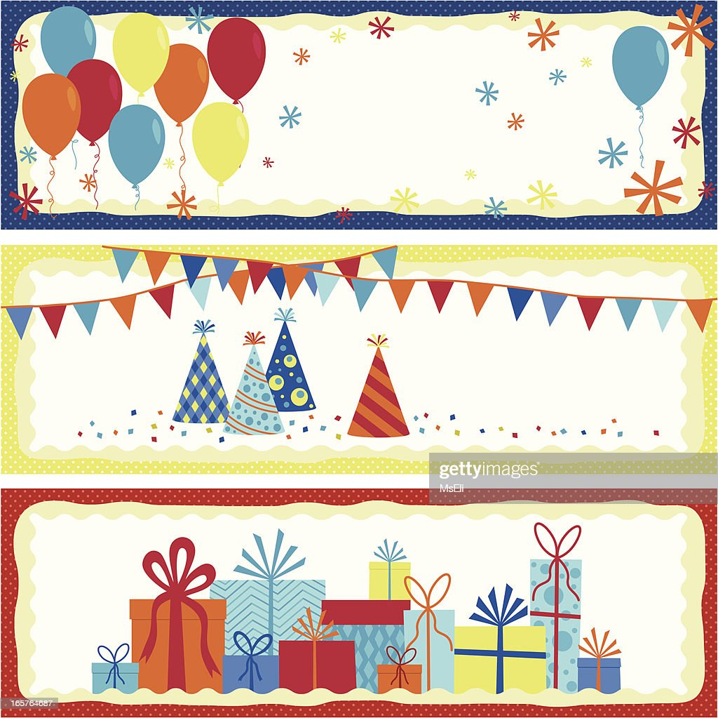 Set of birthday banners vector art getty images