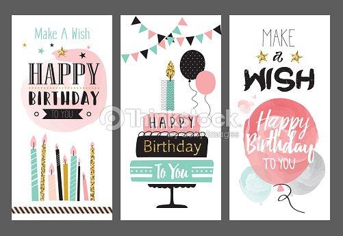 Set Of Birthday Greeting Cards Design Vektorgrafik